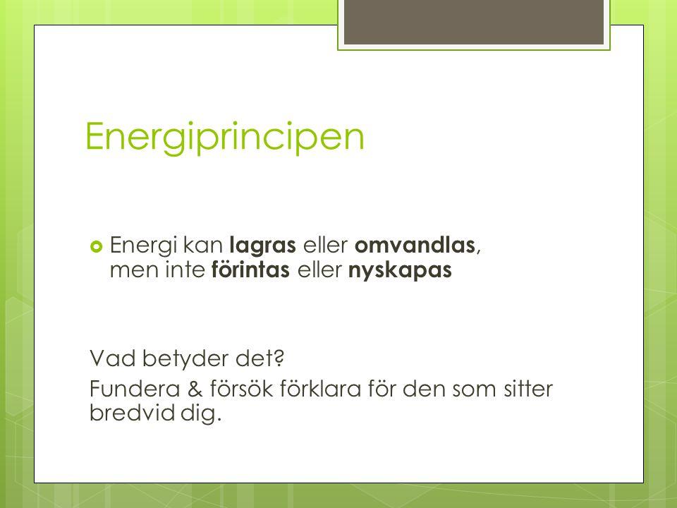Energiprincipen  Energi kan lagras eller omvandlas, men inte förintas eller nyskapas Vad betyder det.