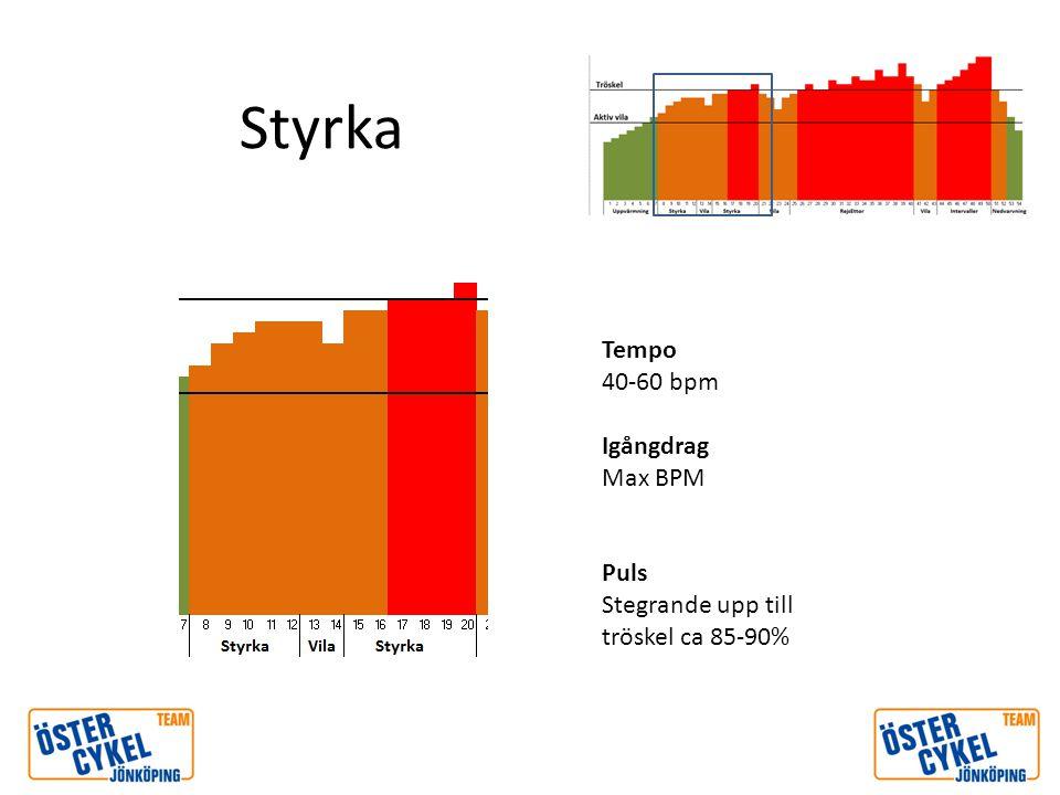 Styrka Tempo 40-60 bpm Igångdrag Max BPM Puls Stegrande upp till tröskel ca 85-90%