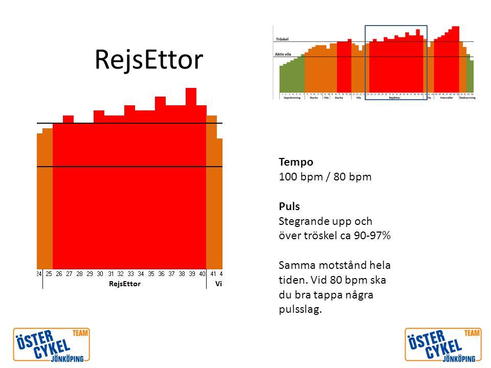 RejsEttor Tempo 100 bpm / 80 bpm Puls Stegrande upp och över tröskel ca 90-97% Samma motstånd hela tiden. Vid 80 bpm ska du bra tappa några pulsslag.