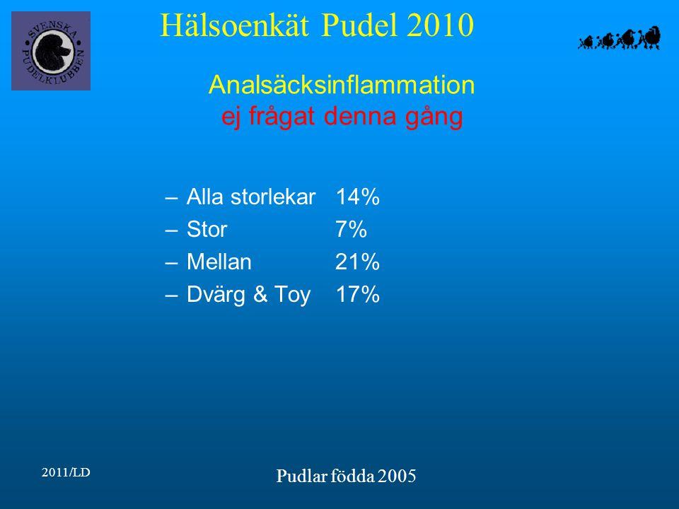 Hälsoenkät Pudel 2010 2011/LD Pudlar födda 2005 Analsäcksinflammation ej frågat denna gång –Alla storlekar14% –Stor7% –Mellan21% –Dvärg & Toy17%