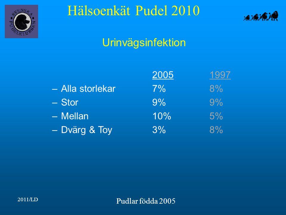 Hälsoenkät Pudel 2010 2011/LD Pudlar födda 2005 Urinvägsinfektion 20051997 –Alla storlekar7%8% –Stor9%9% –Mellan10%5% –Dvärg & Toy3%8%