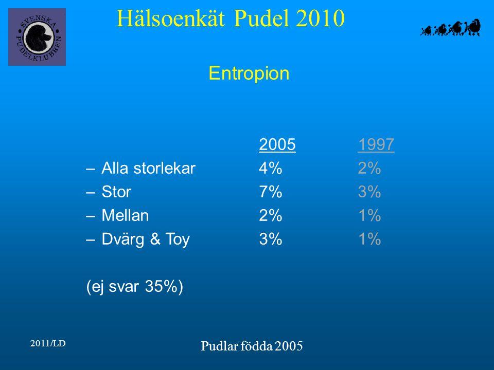 Hälsoenkät Pudel 2010 2011/LD Pudlar födda 2005 Entropion 20051997 –Alla storlekar4%2% –Stor7%3% –Mellan2%1% –Dvärg & Toy3%1% (ej svar 35%)