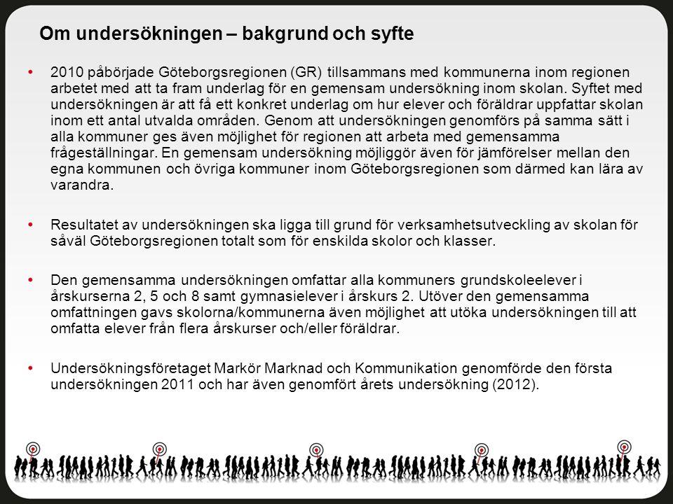 2010 påbörjade Göteborgsregionen (GR) tillsammans med kommunerna inom regionen arbetet med att ta fram underlag för en gemensam undersökning inom skolan.