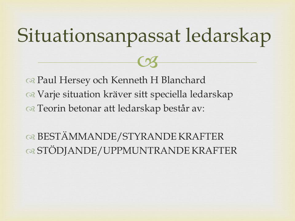   Paul Hersey och Kenneth H Blanchard  Varje situation kräver sitt speciella ledarskap  Teorin betonar att ledarskap består av:  BESTÄMMANDE/STYR