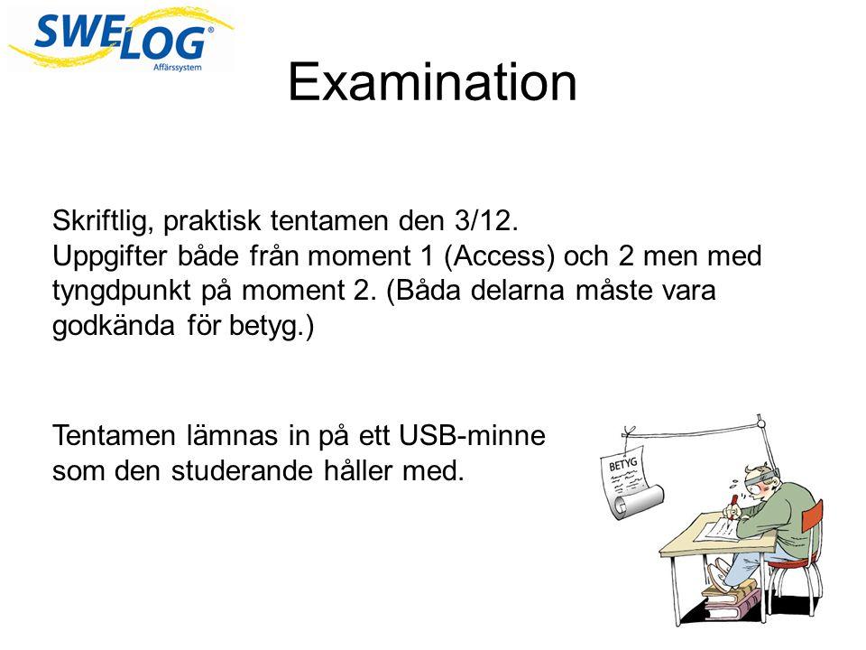 Examination Skriftlig, praktisk tentamen den 3/12.