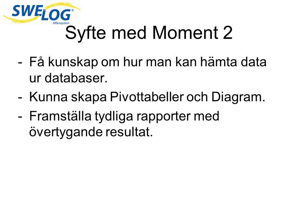 Syfte med Moment 2 -Få kunskap om hur man kan hämta data ur databaser.