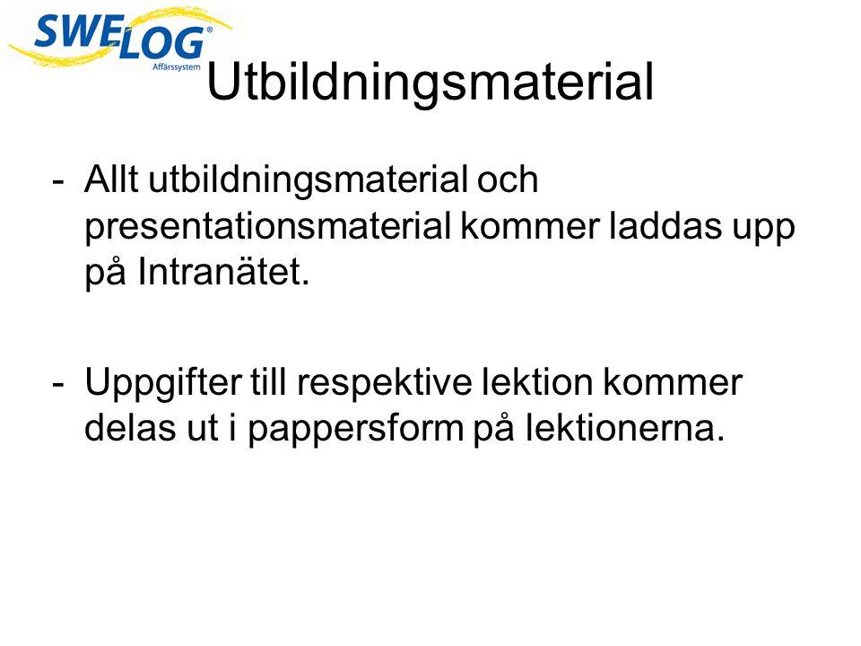 Utbildningsmaterial -Allt utbildningsmaterial och presentationsmaterial kommer laddas upp på Intranätet.
