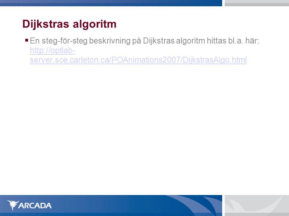 Dijkstras algoritm  En steg-för-steg beskrivning på Dijkstras algoritm hittas bl.a.