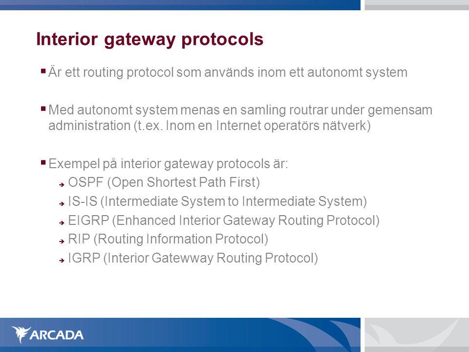Interior gateway protocols  Är ett routing protocol som används inom ett autonomt system  Med autonomt system menas en samling routrar under gemensam administration (t.ex.