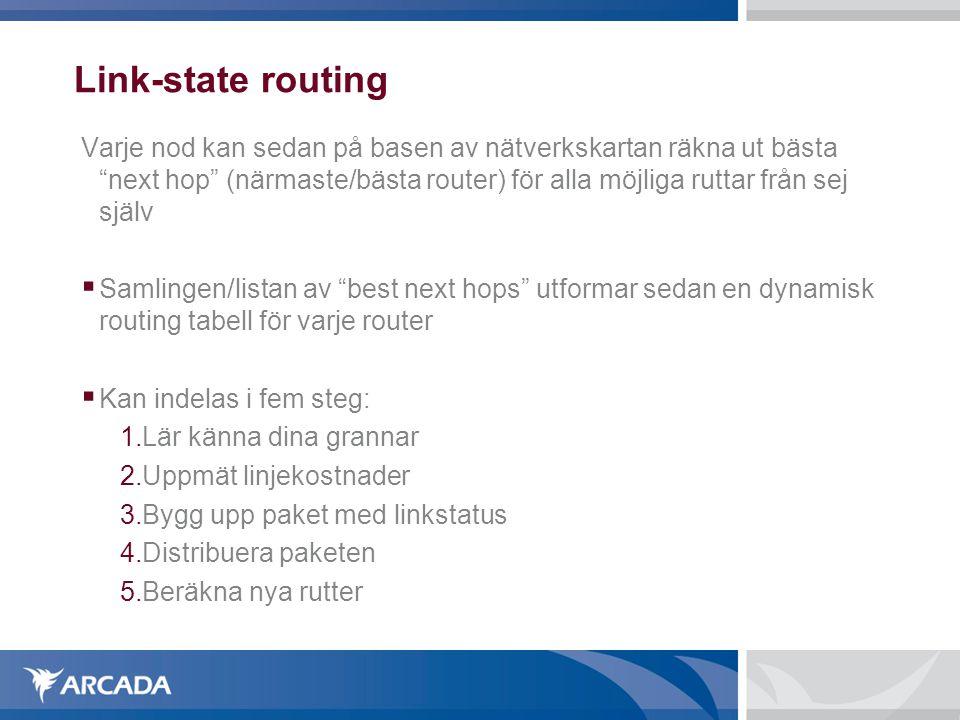 Link-state routing Varje nod kan sedan på basen av nätverkskartan räkna ut bästa next hop (närmaste/bästa router) för alla möjliga ruttar från sej själv  Samlingen/listan av best next hops utformar sedan en dynamisk routing tabell för varje router  Kan indelas i fem steg: 1.Lär känna dina grannar 2.Uppmät linjekostnader 3.Bygg upp paket med linkstatus 4.Distribuera paketen 5.Beräkna nya rutter