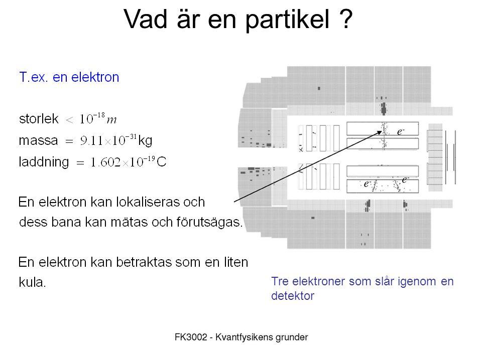 Vad är en partikel ? Tre elektroner som slår igenom en detektor