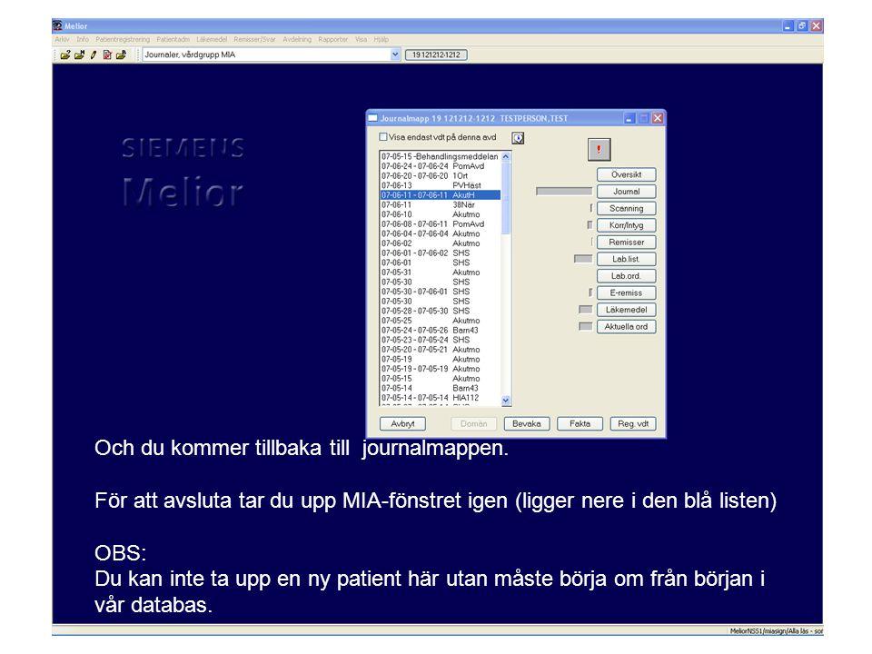 Och du kommer tillbaka till journalmappen. För att avsluta tar du upp MIA-fönstret igen (ligger nere i den blå listen) OBS: Du kan inte ta upp en ny p