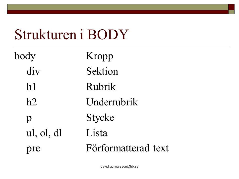 david.gunnarsson@hb.se Strukturen i BODY bodyKropp divSektion h1Rubrik h2Underrubrik pStycke ul, ol, dlLista preFörformatterad text