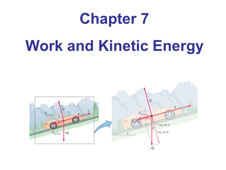 7-2 Kinetic Energy and the Work-Energy Theorem Work-Energy Theorem: The total work done on an object is equal to its change in kinetic energy.