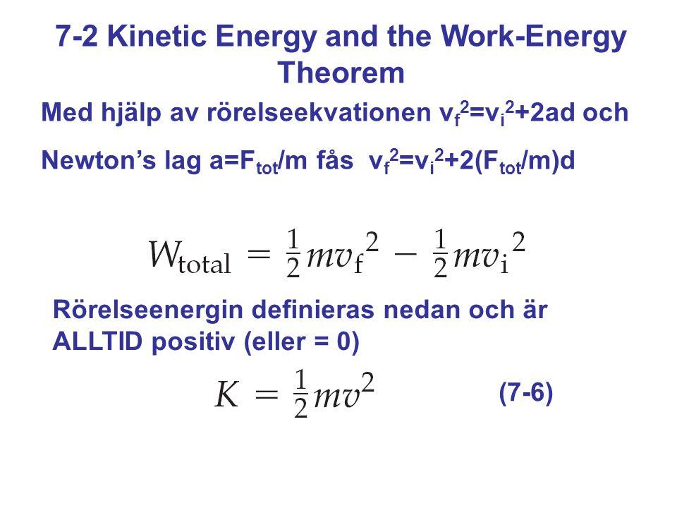 7-2 Kinetic Energy and the Work-Energy Theorem Med hjälp av rörelseekvationen v f 2 =v i 2 +2ad och Newton's lag a=F tot /m fås v f 2 =v i 2 +2(F tot /m)d Rörelseenergin definieras nedan och är ALLTID positiv (eller = 0) (7-6)
