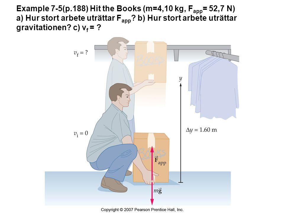 Example 7-5(p.188) Hit the Books (m=4,10 kg, F app = 52,7 N) a) Hur stort arbete uträttar F app ? b) Hur stort arbete uträttar gravitationen? c) v f =