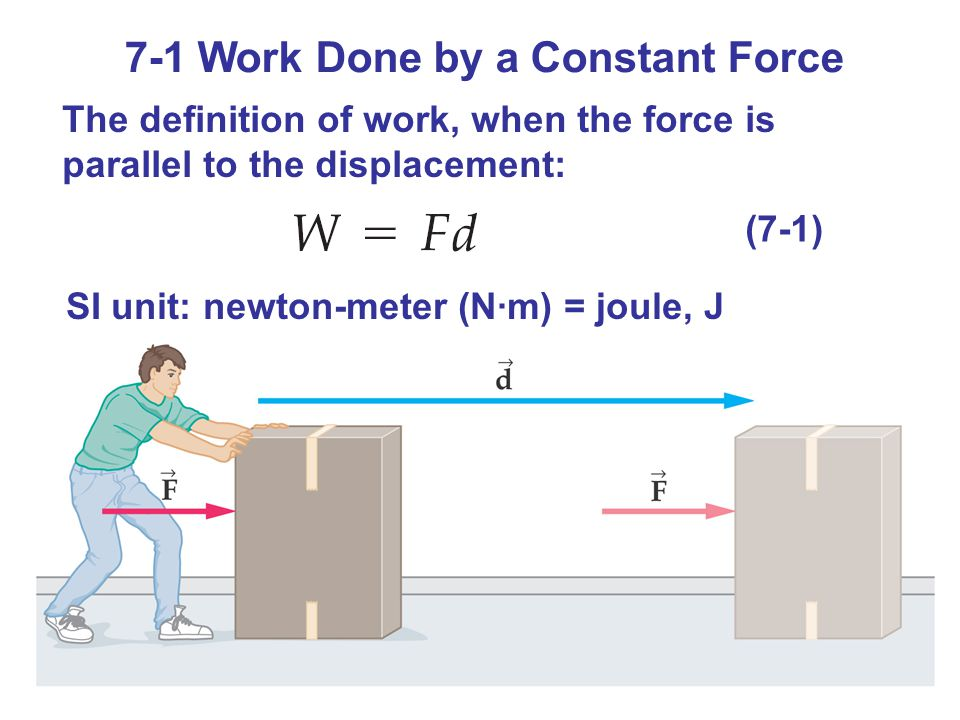 7-1 Work Done by a Constant Force The definition of work, when the force is parallel to the displacement: (7-1) SI unit: newton-meter (N·m) = joule, J