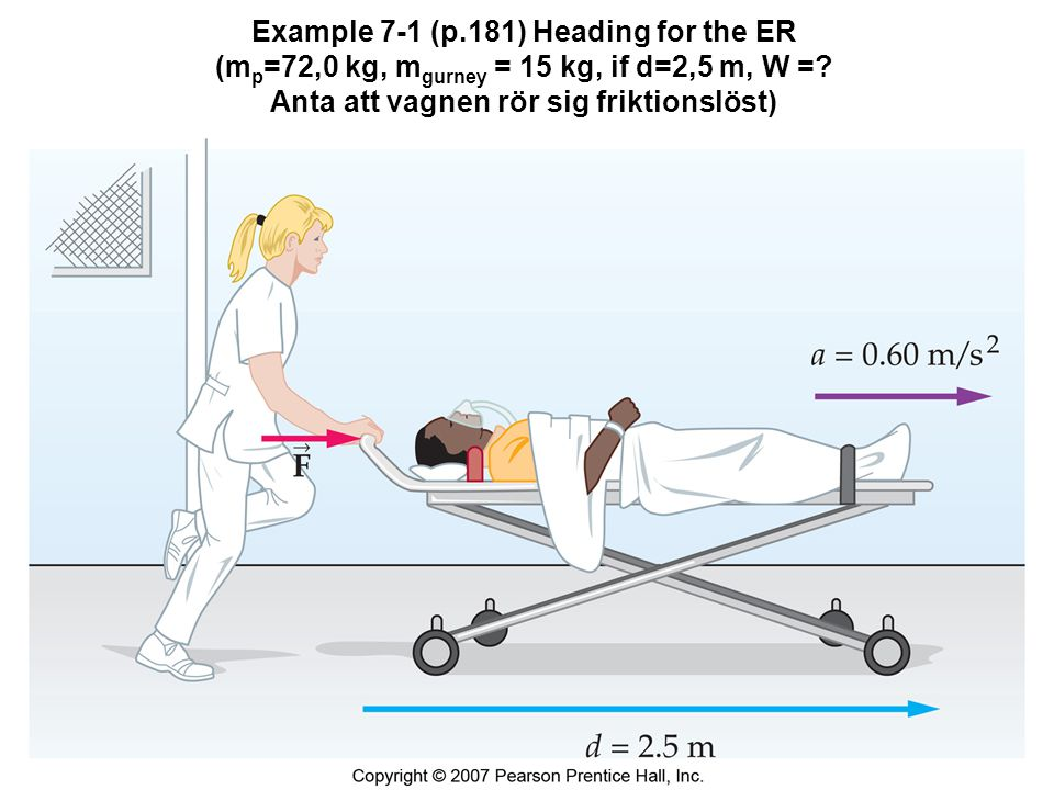 Example 7-1 (p.181) Heading for the ER (m p =72,0 kg, m gurney = 15 kg, if d=2,5 m, W =.