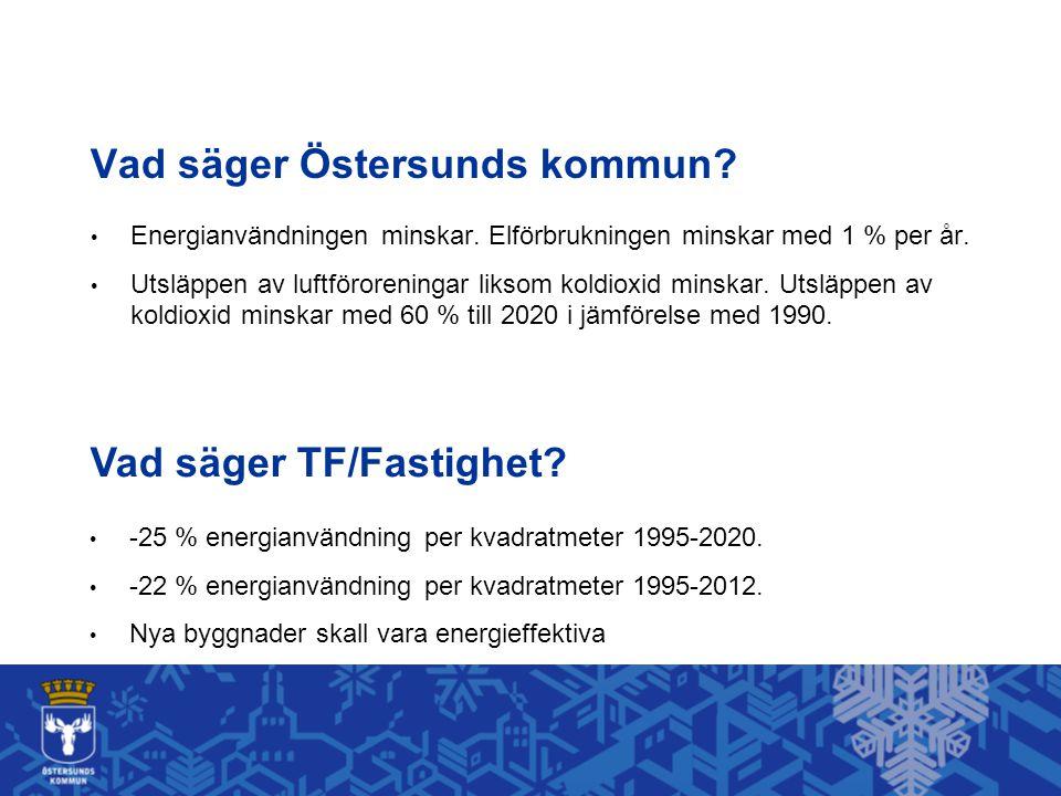 Vad säger Östersunds kommun? Energianvändningen minskar. Elförbrukningen minskar med 1 % per år. Utsläppen av luftföroreningar liksom koldioxid minska
