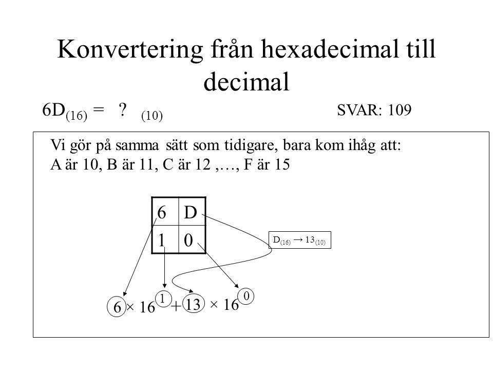 Konvertering från hexadecimal till decimal 6D (16) = ? (10) Vi gör på samma sätt som tidigare, bara kom ihåg att: A är 10, B är 11, C är 12,…, F är 15