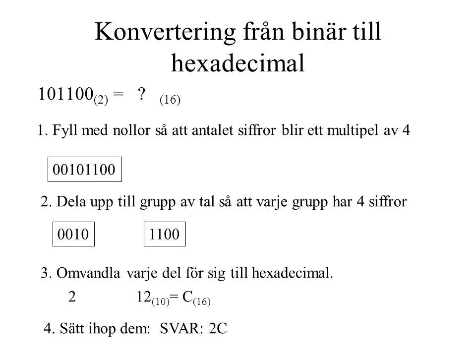 Konvertering från binär till hexadecimal 101100 (2) = ? (16) 1. Fyll med nollor så att antalet siffror blir ett multipel av 4 00101100 2. Dela upp til