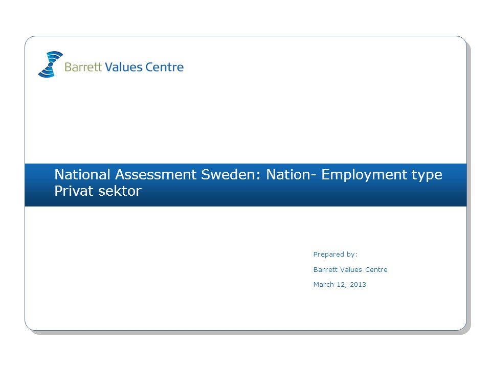 National Assessment Sweden: Nation- Employment type Privat sektor Prepared by: Barrett Values Centre March 12, 2013