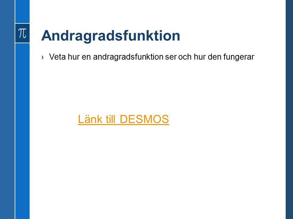 Andragradsfunktion ›Veta hur en andragradsfunktion ser och hur den fungerar Länk till DESMOS