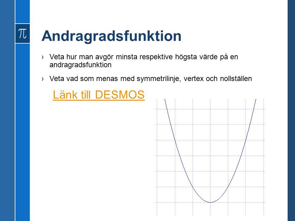 Andragradsfunktion ›Veta hur man avgör minsta respektive högsta värde på en andragradsfunktion ›Veta vad som menas med symmetrilinje, vertex och nollställen Länk till DESMOS