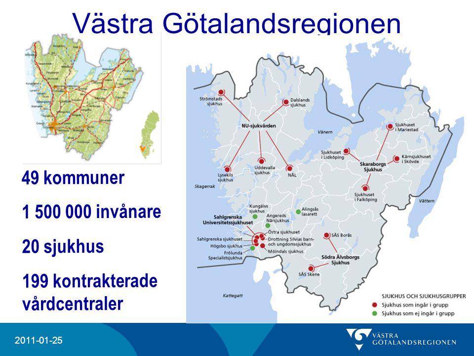 20204 2011-01-25 49 kommuner 1 500 000 invånare 20 sjukhus 199 kontrakterade vårdcentraler Västra Götalandsregionen