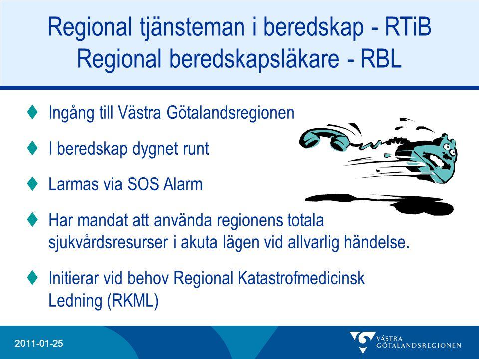 20204 2011-01-25 Regional tjänsteman i beredskap - RTiB Regional beredskapsläkare - RBL  Ingång till Västra Götalandsregionen  I beredskap dygnet ru