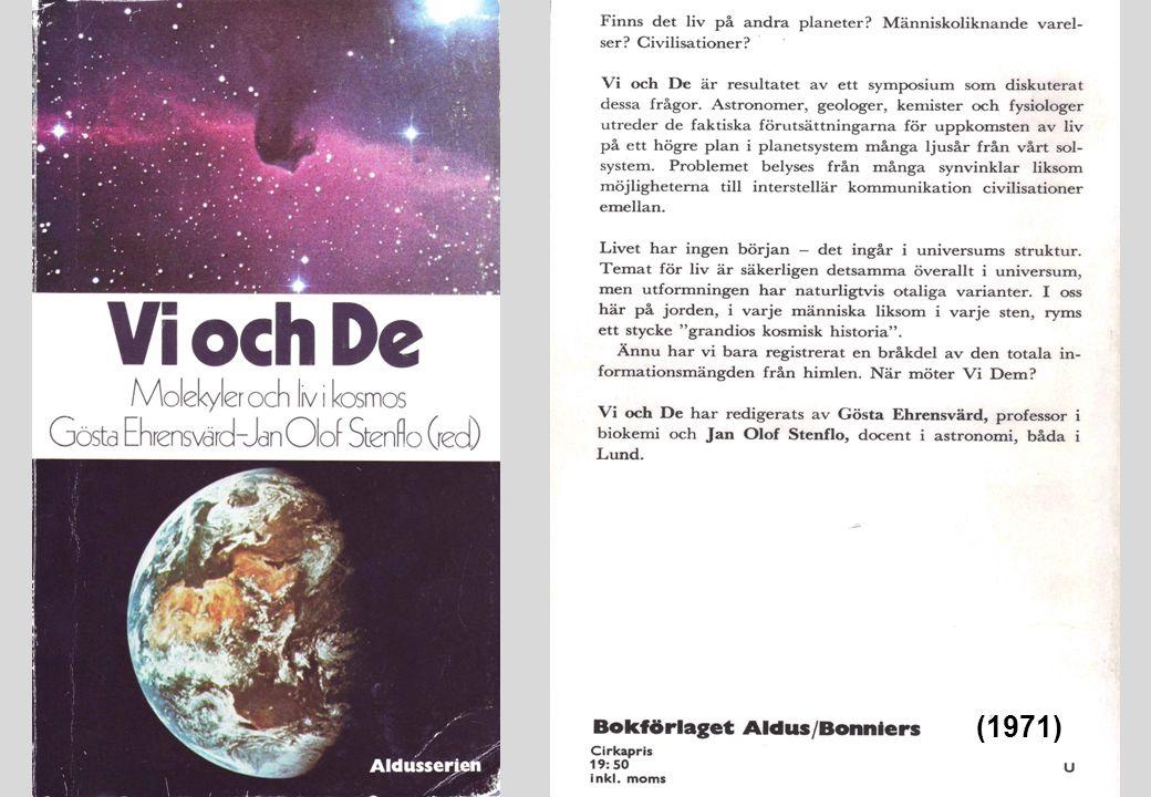Orienteringskurser Förutsättningar för liv i universum (70-, 80-tal)