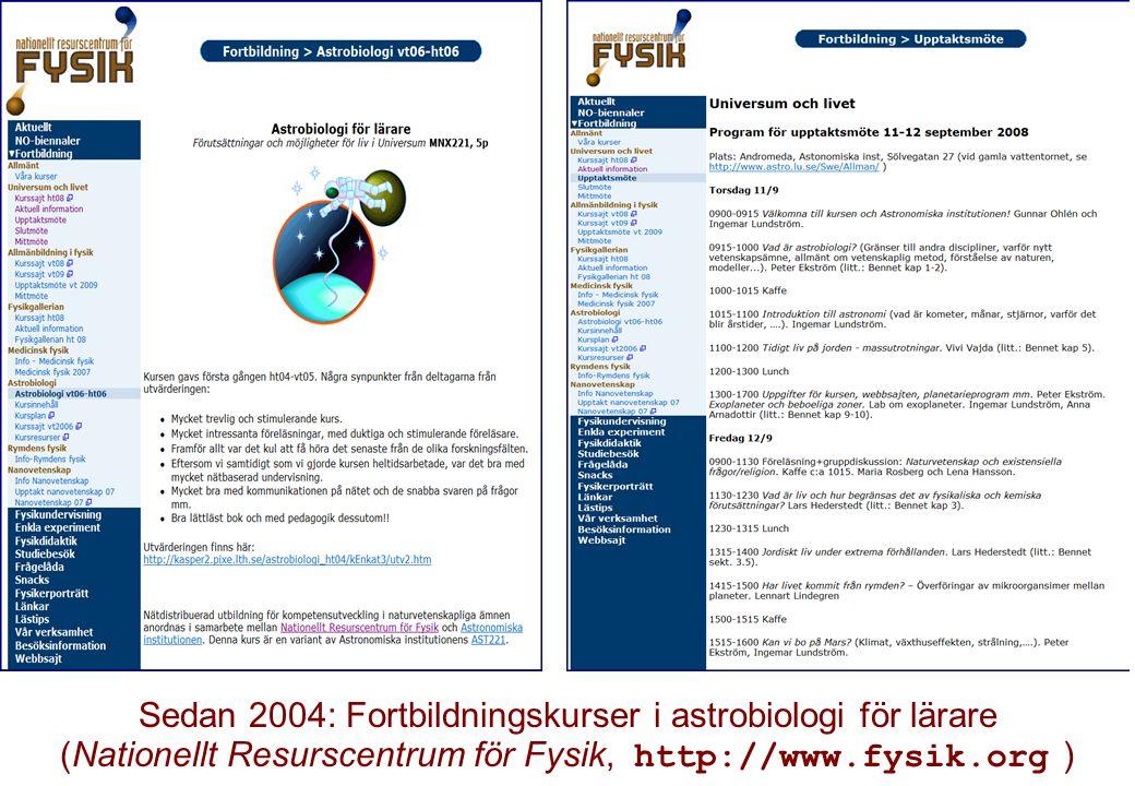 Sedan 2004: Fortbildningskurser i astrobiologi för lärare (Nationellt Resurscentrum för Fysik, http://www.fysik.org )
