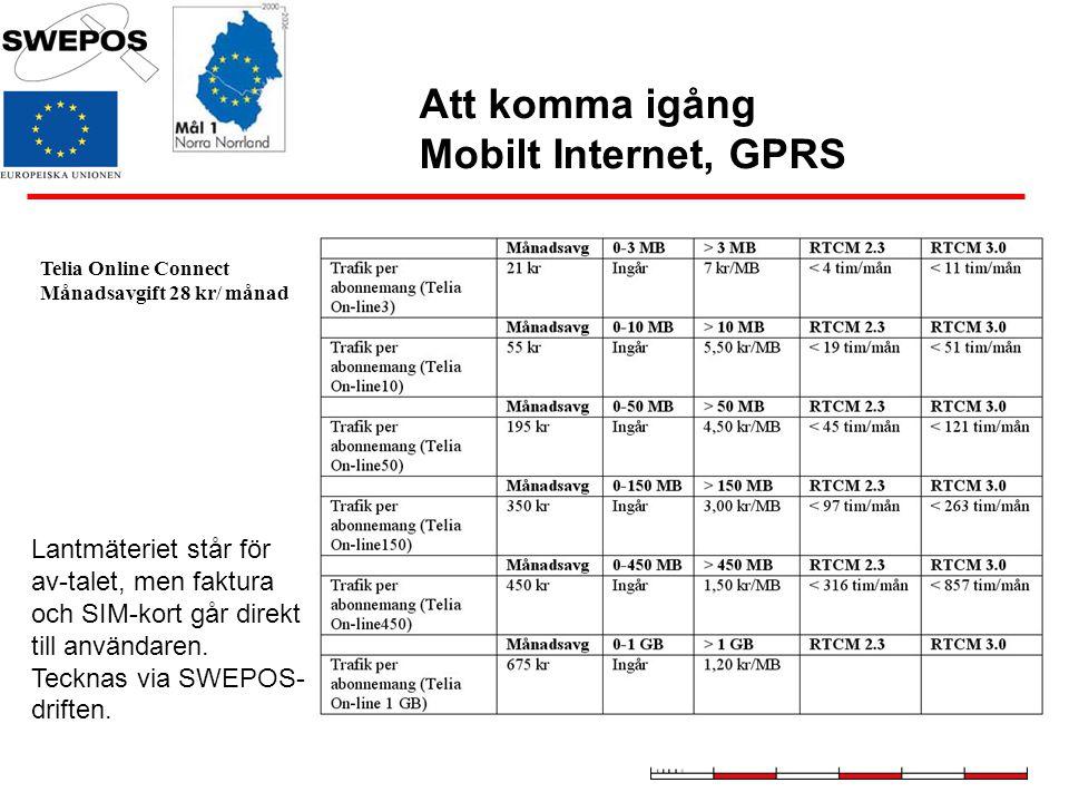 Att komma igång Mobilt Internet, GPRS Telia Online Connect Månadsavgift 28 kr/ månad Lantmäteriet står för av-talet, men faktura och SIM-kort går dire