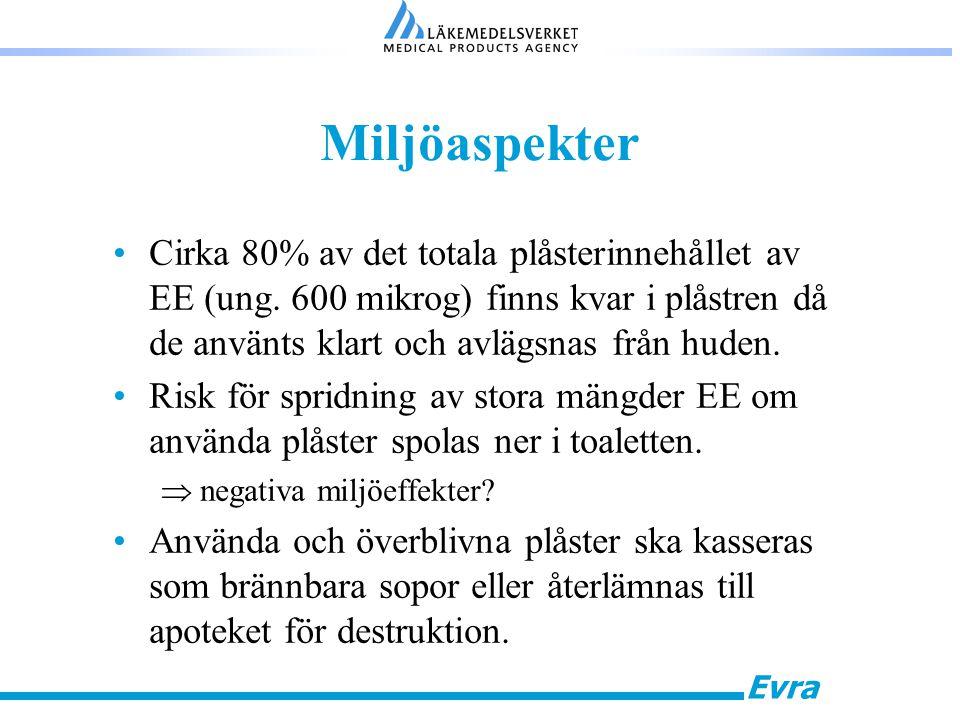 Evra Miljöaspekter Cirka 80% av det totala plåsterinnehållet av EE (ung. 600 mikrog) finns kvar i plåstren då de använts klart och avlägsnas från hude