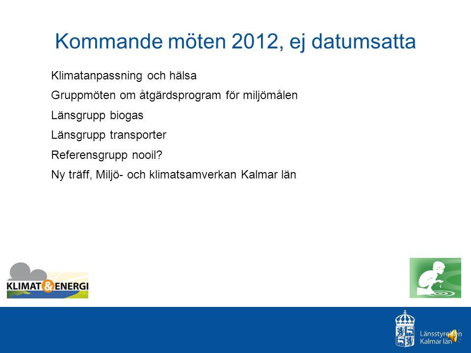 Kommande möten 2012, ej datumsatta Klimatanpassning och hälsa Gruppmöten om åtgärdsprogram för miljömålen Länsgrupp biogas Länsgrupp transporter Referensgrupp nooil.