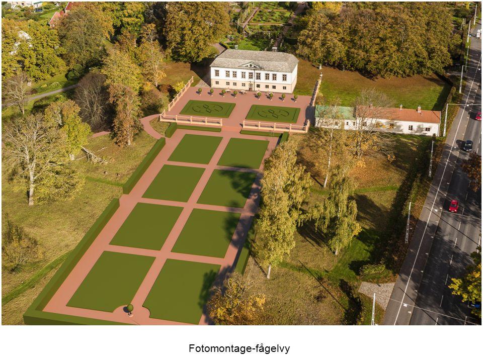Kostnaden har delats upp på två avskiljbara delområden: dels kostnaden för restaurering av den övre parterrterrassen närmast huset, dels kostnaden för restaurering av den nedre trädgården.