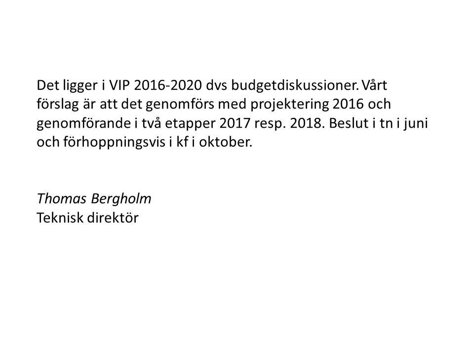 Det ligger i VIP 2016-2020 dvs budgetdiskussioner. Vårt förslag är att det genomförs med projektering 2016 och genomförande i två etapper 2017 resp. 2