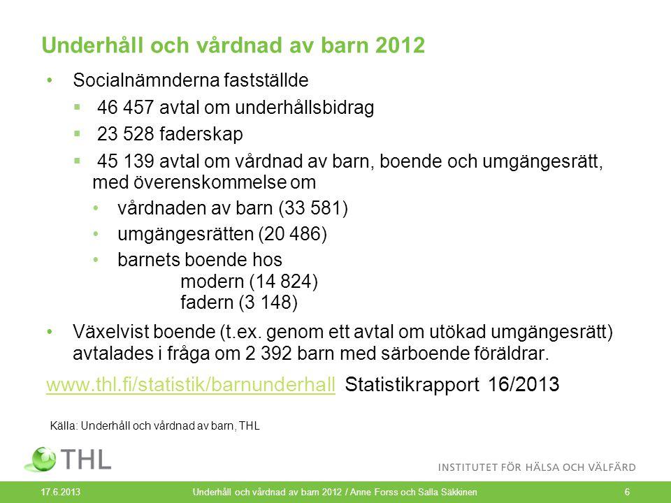 Underhåll och vårdnad av barn 2012 Socialnämnderna fastställde  46 457 avtal om underhållsbidrag  23 528 faderskap  45 139 avtal om vårdnad av barn