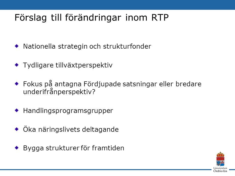 Förslag till förändringar inom RTP Nationella strategin och strukturfonder Tydligare tillväxtperspektiv Fokus på antagna Fördjupade satsningar eller bredare underifrånperspektiv.