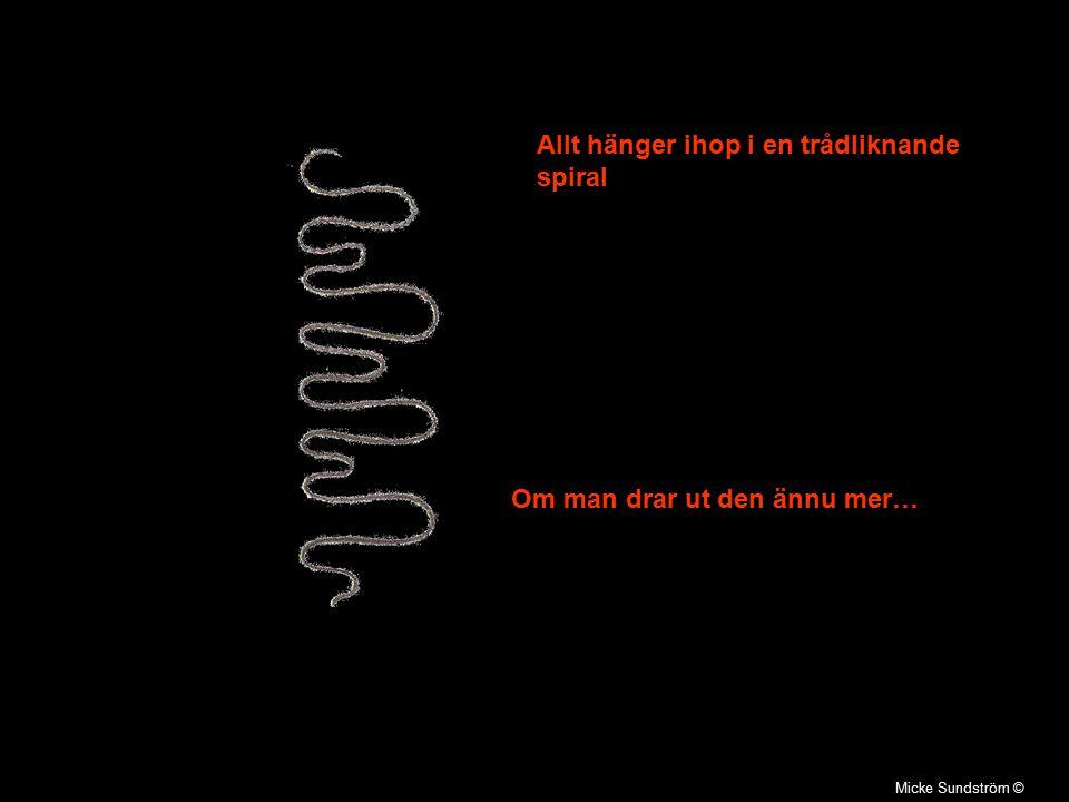 Micke Sundström © Allt hänger ihop i en trådliknande spiral Om man drar ut den ännu mer…