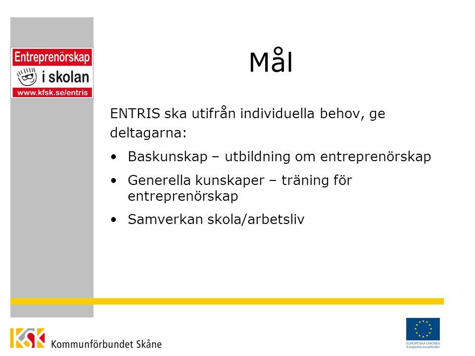 Mål ENTRIS ska utifrån individuella behov, ge deltagarna: Baskunskap – utbildning om entreprenörskap Generella kunskaper – träning för entreprenörskap Samverkan skola/arbetsliv