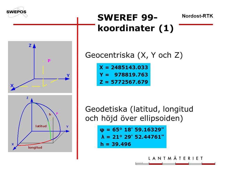 Nordost-RTK Geocentriska (X, Y och Z) Geodetiska (latitud, longitud och höjd över ellipsoiden) SWEREF 99- koordinater (1) X = 2485143.033 Y = 978819.763 Z = 5772567.679 φ = 65° 18 59.16329 λ = 21° 29 52.44761 h = 39.496
