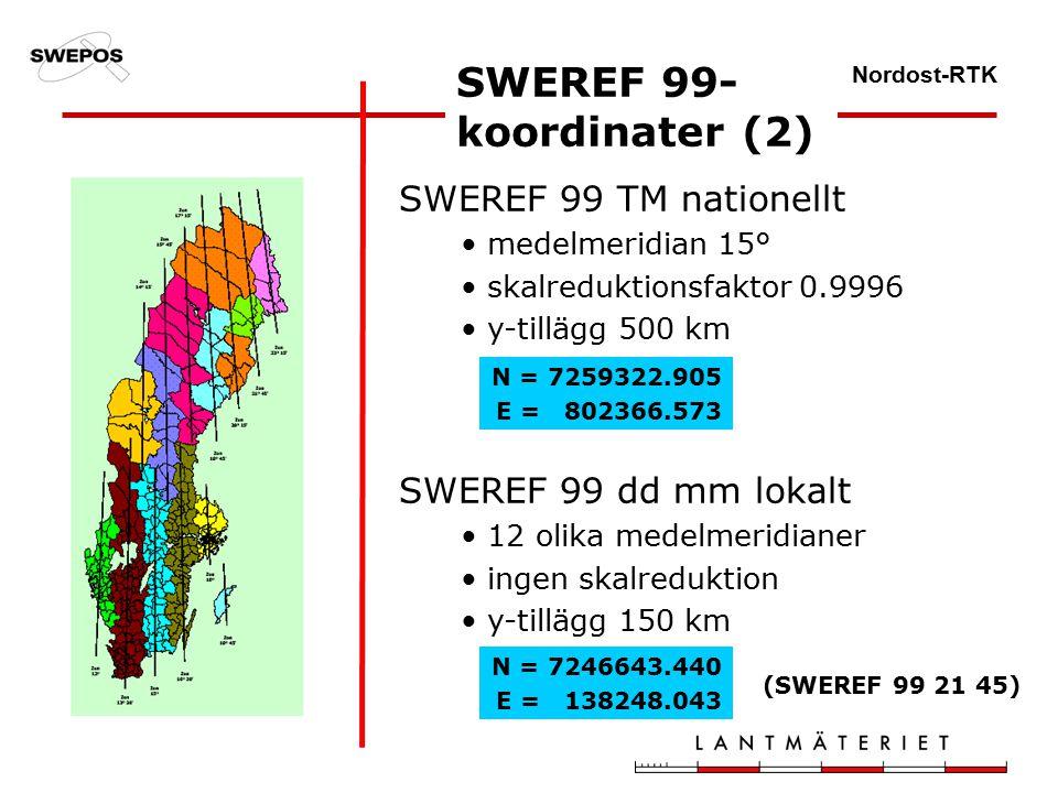 Nordost-RTK SWEREF 99 TM nationellt medelmeridian 15° skalreduktionsfaktor 0.9996 y-tillägg 500 km SWEREF 99 dd mm lokalt 12 olika medelmeridianer ingen skalreduktion y-tillägg 150 km SWEREF 99- koordinater (2) N = 7259322.905 E = 802366.573 N = 7246643.440 E = 138248.043 (SWEREF 99 21 45)