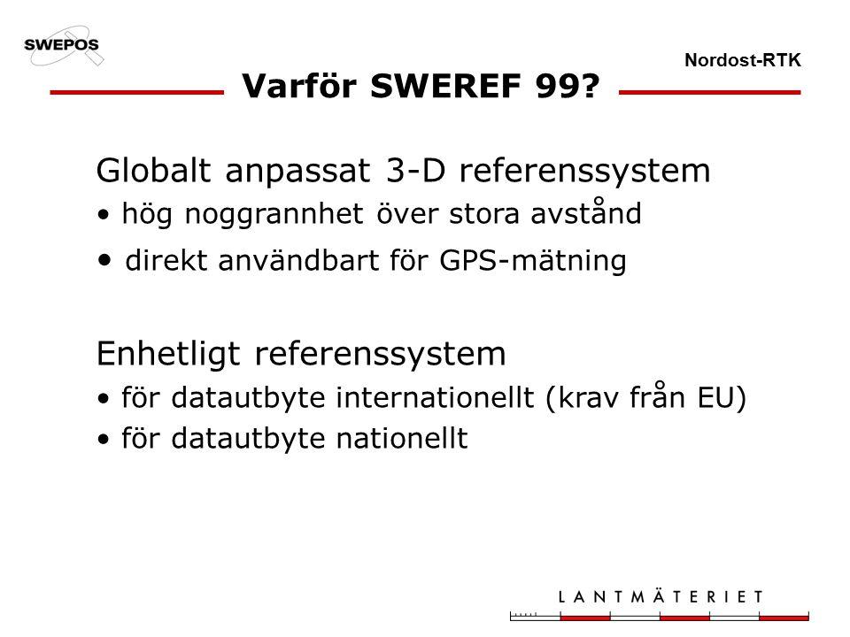 Nordost-RTK Varför SWEREF 99.