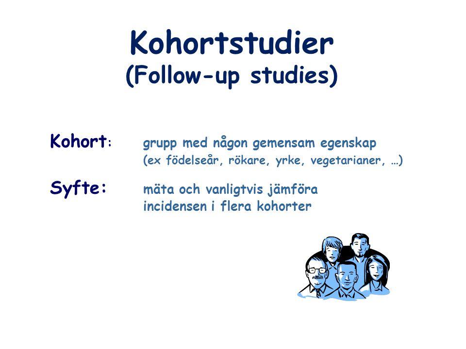 (Follow-up studies) Kohort :grupp med någon gemensam egenskap (ex födelseår, rökare, yrke, vegetarianer, …) Syfte: mäta och vanligtvis jämföra inciden