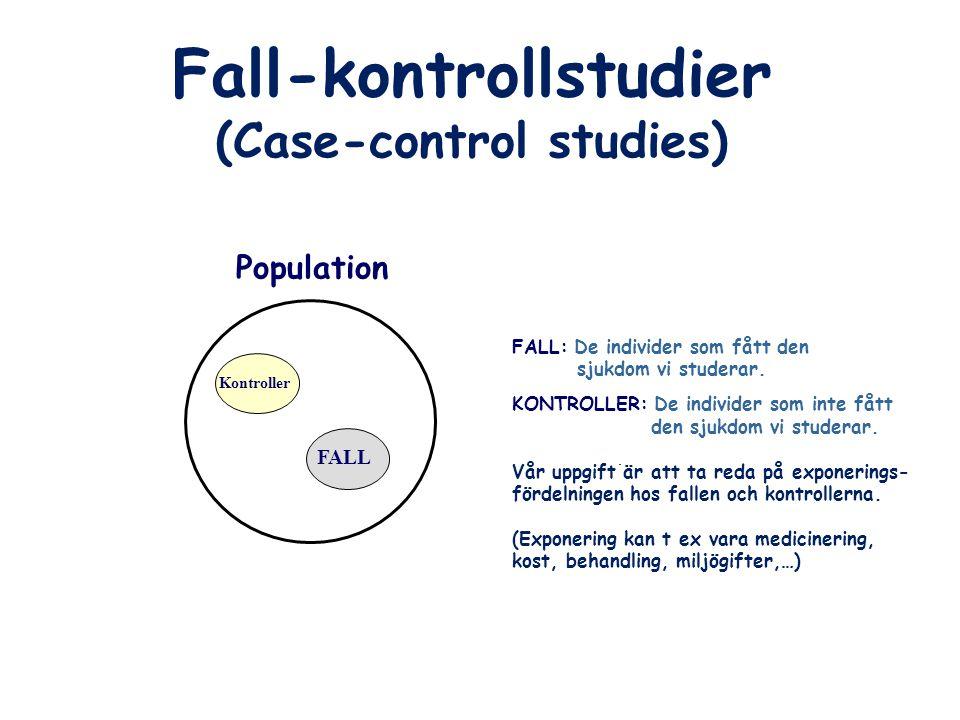 (Case-control studies) Population FALL Kontroller FALL: De individer som fått den sjukdom vi studerar. KONTROLLER: De individer som inte fått den sjuk
