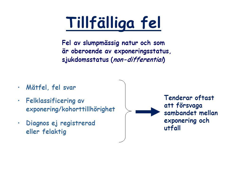 Tillfälliga fel Mätfel, fel svar Felklassificering av exponering/kohorttillhörighet Diagnos ej registrerad eller felaktig Fel av slumpmässig natur och