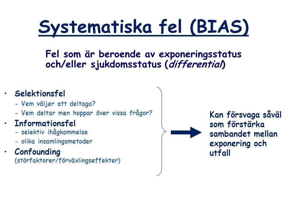 Systematiska fel (BIAS) Fel som är beroende av exponeringsstatus och/eller sjukdomsstatus (differential) Kan försvaga såväl som förstärka sambandet me