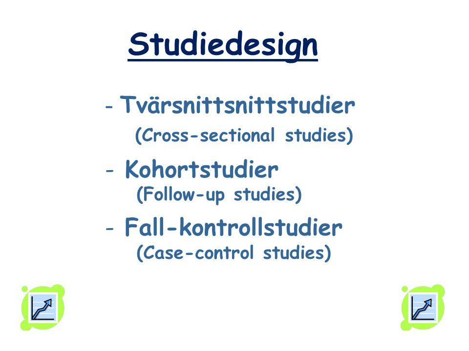 - Tvärsnittsnittstudier (Cross-sectional studies) - Kohortstudier (Follow-up studies) - Fall-kontrollstudier (Case-control studies) Studiedesign