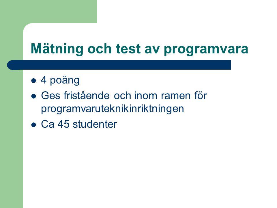 Mätning och test av programvara 4 poäng Ges fristående och inom ramen för programvaruteknikinriktningen Ca 45 studenter